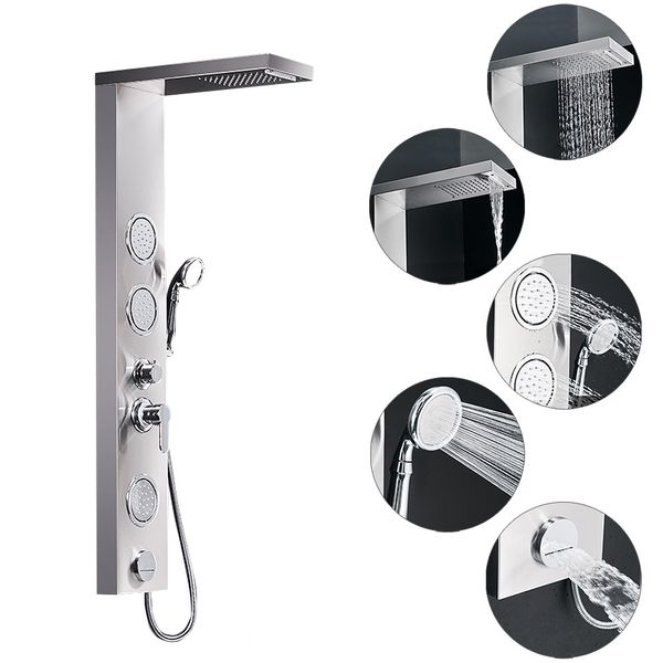 Stainless Steel Shower Column Panel Waterfall Massage Rain Shower 3 Colours Sanlingo – Bild 5
