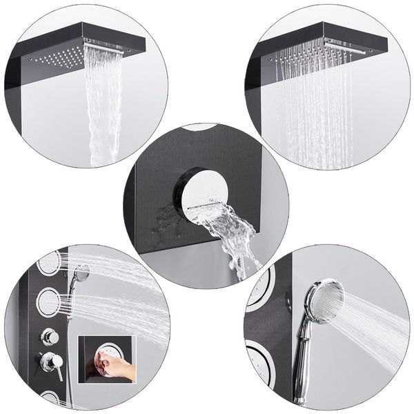 Stainless Steel Shower Column Panel Waterfall Massage Rain Shower Black Anthracite Sanlingo – Bild 4