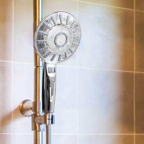LED Shower Head Hand Shower 3 Colors Color Change Temperature Display Chrome Sanlingo – Bild 2