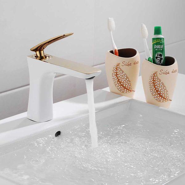 Sanlingo Bathroom Wash Basin Sink Mono Monoblock Mixer Tap Gold White – Bild 2