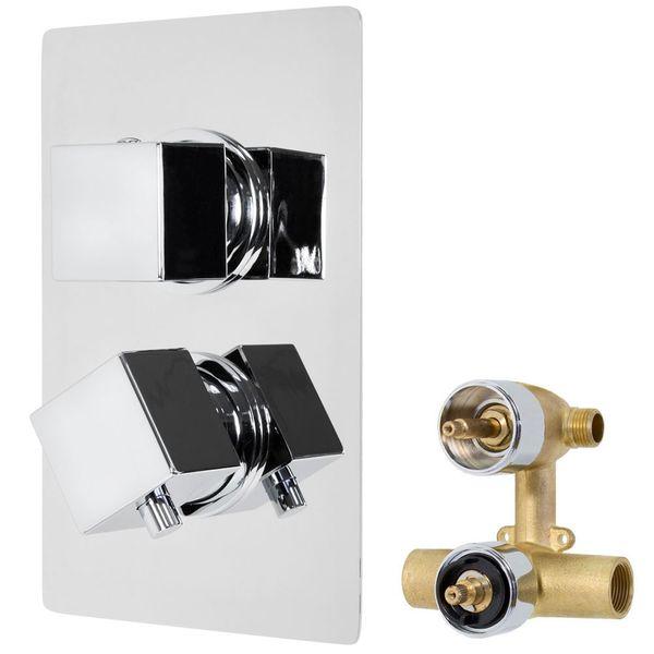 Design Unterputz Thermostat Armatur Einhebel 2 Wege Umstellung Eckig Messing Chrom Sanlingo