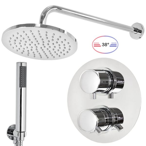 Stainless Steel Shower Set Thermostat Rain Hand Shower Diverter 2 Way Round Chrome Sanlingo – Bild 2