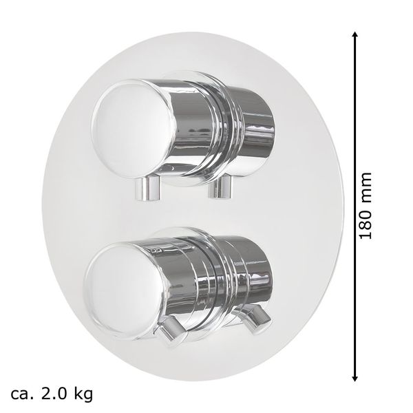 Stainless Steel Shower Set Thermostat Rain Hand Shower Diverter 2 Way Round Chrome Sanlingo – Bild 7