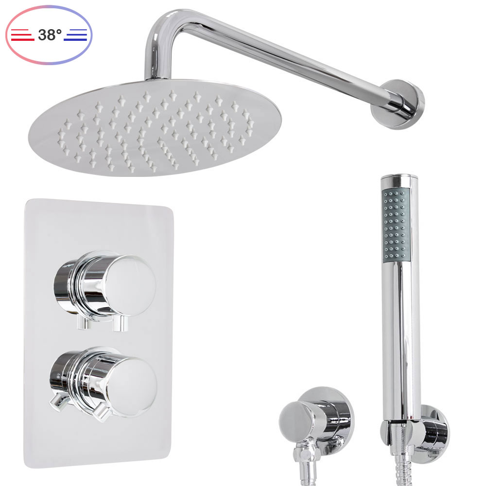 Shower Set Thermostat Rain Hand Shower Diverter 2 Way Round Stainless Steel  Chrome Sanlingo