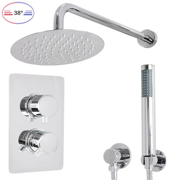 Shower Set Thermostat Rain Hand Shower Diverter 2 Way Round Stainless Steel Chrome Sanlingo – Bild 2