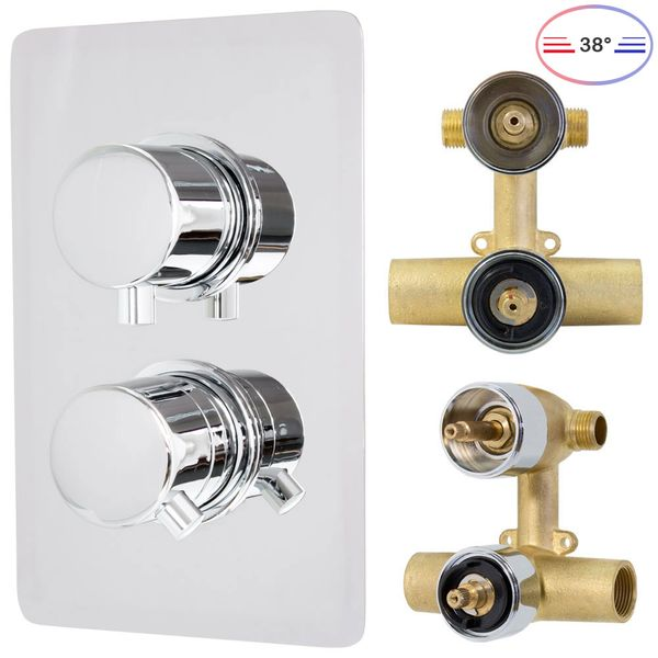 Shower Set Thermostat Rain Hand Shower Diverter 2 Way Round Stainless Steel Chrome Sanlingo – Bild 4