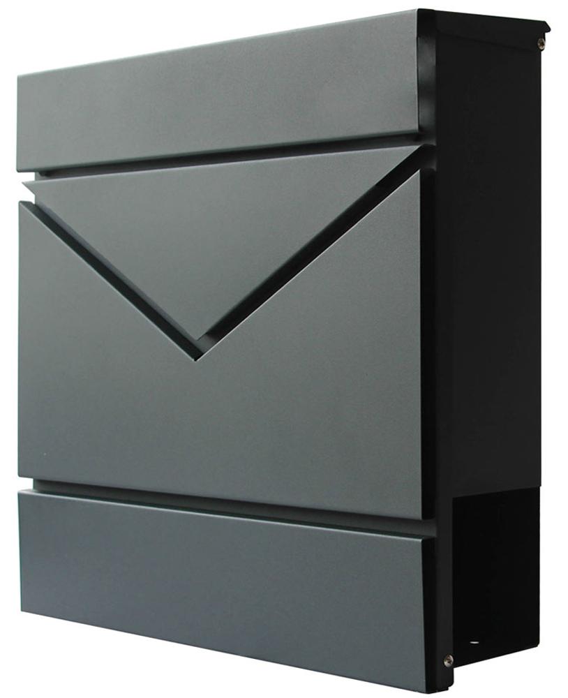 SPRINGOS Briefkasten mit Zeitungsfach|Postkasten|37,5 x 36,5 x 11 cm|Anthrazit Matt|Modern|Wandbriefkasten|Doppelfunktion-Briefkasten|Stahldesign Anthrazit Matt Anthrazit - Design 15