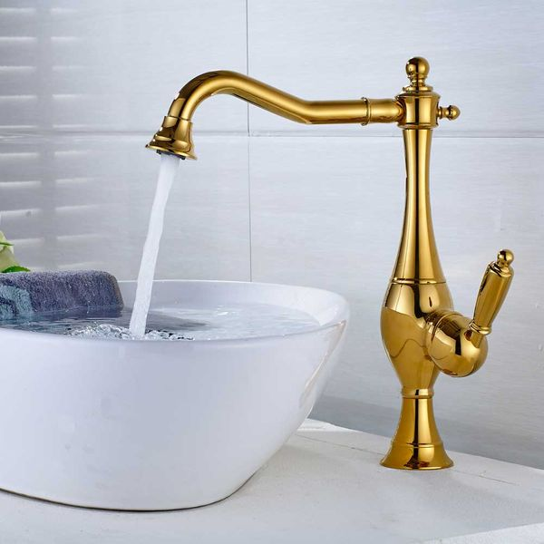 Sanlingo Retro Bathroom Wash Basin Bowl Mono Tap Mixer Sink Swivel Spout Retro Gold – Bild 2