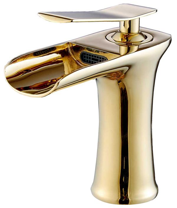 Sanlingo Bathroom Wash Basin Sink Waterfall Mono Tap Mixer Gold – Bild 1