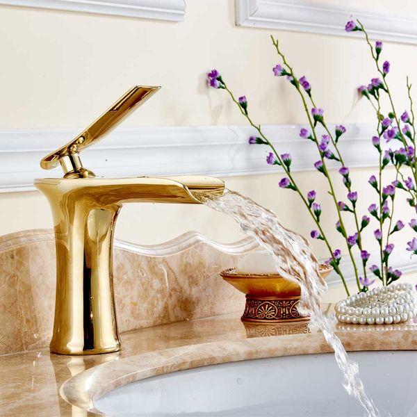 Sanlingo Waschbecken Wasserfall Waschtischarmatur Armatur Wasserhahn Einhebelmischer Mischbatterie Gold – Bild 2