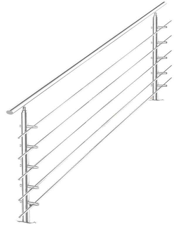 Treppengeländer Edelstahl Handlauf Geländer Balkongeländer Aufmontage Treppe 180cm 5 Streben V2Aox