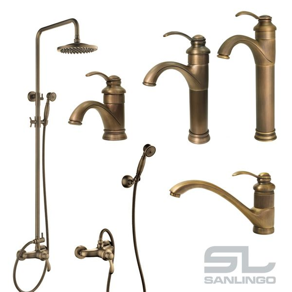 Nostalgia Retro Single Lever Wash Basin Water Tap Antique Brass Sanlingo TILO – Bild 7