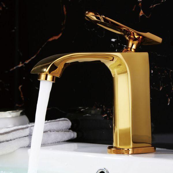 Waschbecken Waschtischarmatur Armatur Wasserhahn Mischbatterie Einhebelmischer Gold von Sanlingo – Bild 2