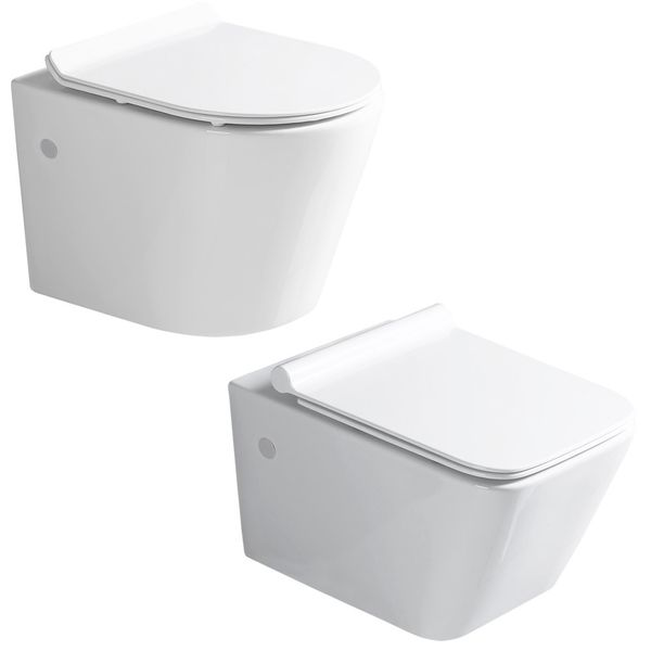 Sanlingo Wall Hung Mounted Toilet WC Pan without Rim with Soft Close Seat Toilet Lid Bathroom – Bild 9