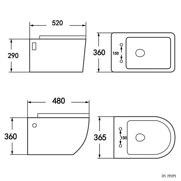 Sanlingo Keramik Wand Hänge WC Toilette Spülrandlos Softclose Weiß Tiefspüler Lotuseffekt WC Sitz – Bild 13