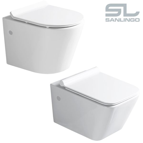 Sanlingo Wall Hung Mounted Toilet WC Pan without Rim with Soft Close Seat Toilet Lid Bathroom – Bild 4