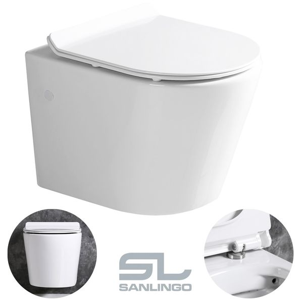 Sanlingo Wall Hung Mounted Toilet WC Pan without Rim with Soft Close Seat Toilet Lid Bathroom – Bild 7