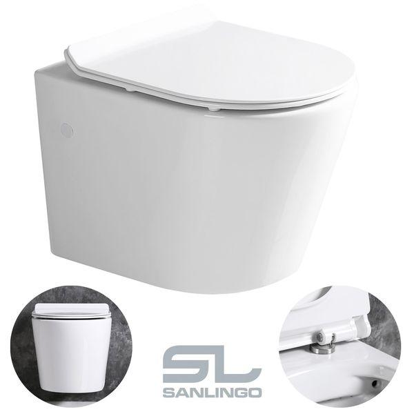 Sanlingo Keramik Wand Hänge WC Toilette Spülrandlos Softclose Weiß Tiefspüler Lotuseffekt WC Sitz – Bild 6