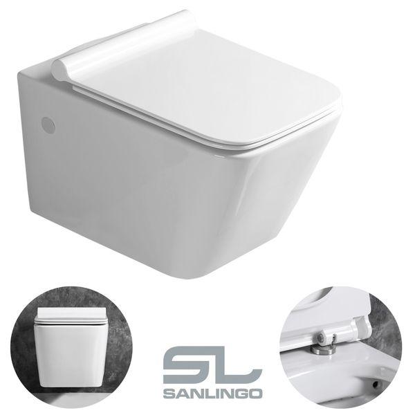 Sanlingo Keramik Wand Hänge WC Toilette Spülrandlos Softclose Weiß Tiefspüler Lotuseffekt WC Sitz – Bild 7