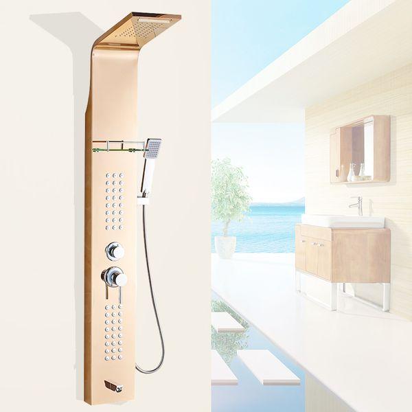 Stainless Steel Shower Column Panel Waterfall Rain Shower Massage Shelf Rose Gold Sanlingo – Bild 2