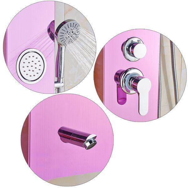 Duschpaneel Duschsäule Edelstahl Wasserfall Regendusche Massage Pink Sanlingo – Bild 5