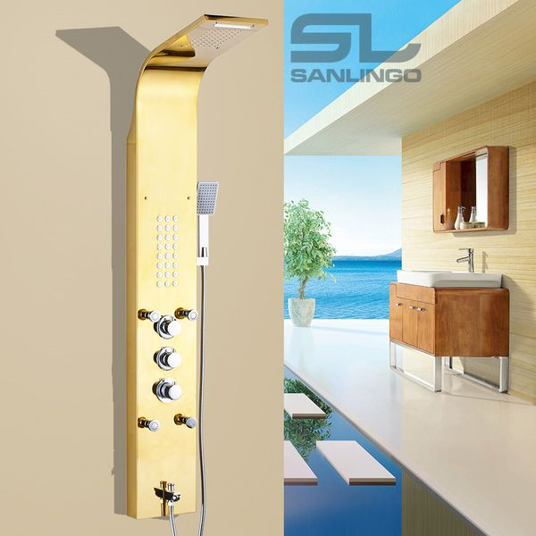 Stainless Steel Gold Shower Column Panel Waterfall Rain Shower Massage Thermostat Sanlingo – Bild 3