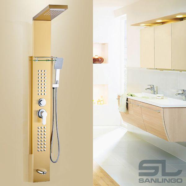 Stainless Steel Gold Shower Column Panel Waterfall Rain Shower Massage Shelf Sanlingo – Bild 3