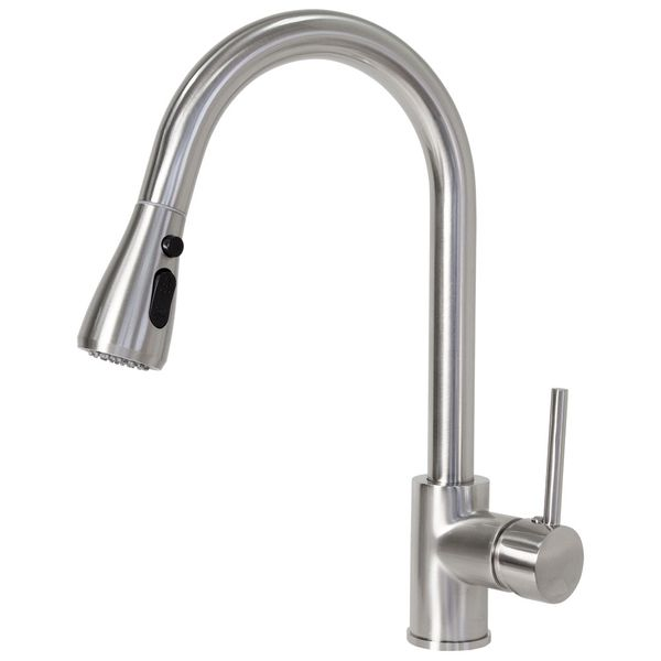 Kitchen Sink Mono Tap Mixer Stainless Steel Look Extendable Swivel Spout Sanlingo