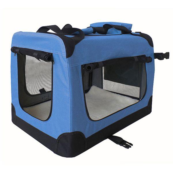 Petigi Faltbare Transportbox Hund Faltbox Transporttasche Hundetransportbox Katze Auto Blau Größe M