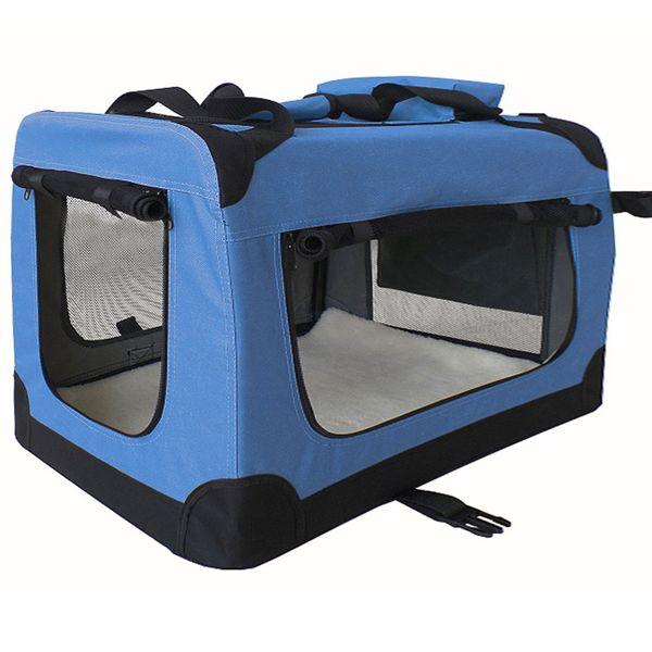 Petigi Faltbare Transportbox Hund Faltbox Transporttasche Hundetransportbox Katze Auto Blau Größe XXL