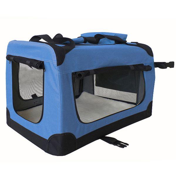 Petigi Faltbare Transportbox Hund Faltbox Transporttasche Hundetransportbox Katze Auto Blau Größe XXXL