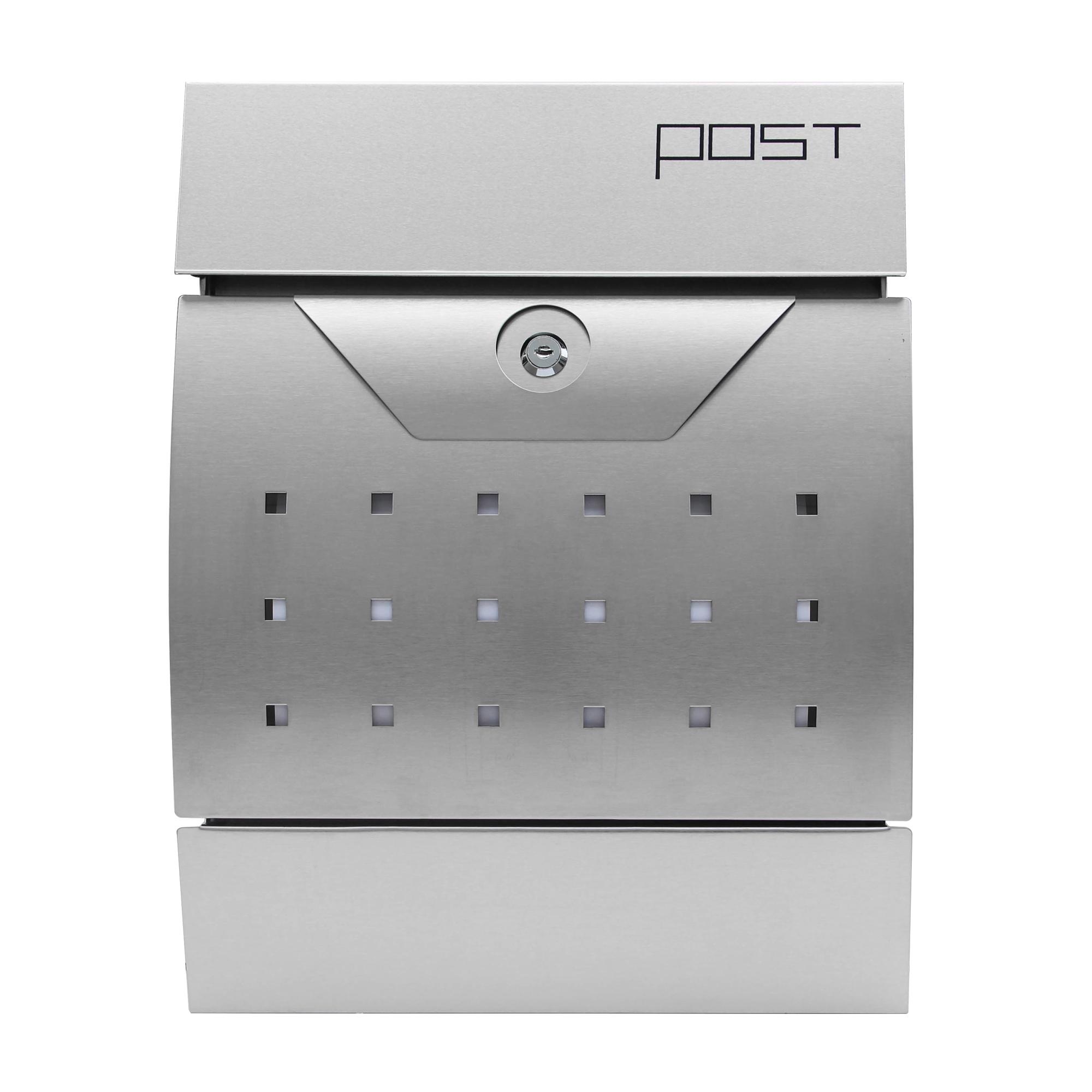 Forma:Angolare Solar Cassetta Della Posta LED Acciaio Inossidabile Buca Lettere Muro Selezione V2Aox