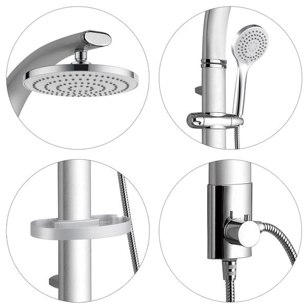 Bath Bathroom Aluminium Shower Panel Rainshower Silver Chrome Thermostatic Tap Sanlingo – Bild 3