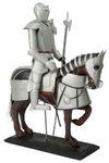 Dekoration Dekofigur Ritterrüstung Ritter mit Pferd Hellebarde 52 cm Ritterheim 001
