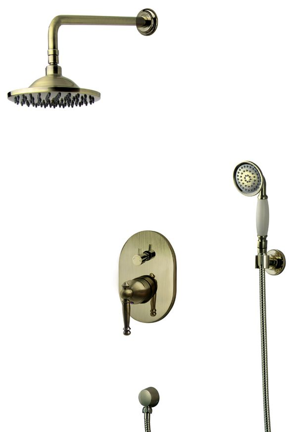 Retro Bath Concealed Complete Shower Set Tap Arm Rain Hand Antique Brass Sanlingo – Bild 1