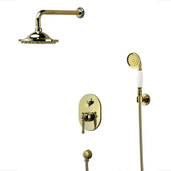 Retro Gold Bath Concealed Complete Shower Set Tap Arm Rain Hand Sanlingo – Bild 1