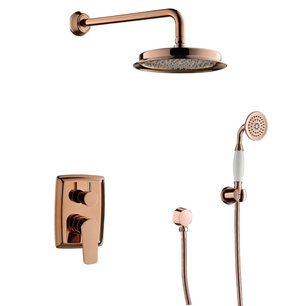 Retro Bath Concealed Complete Shower Set Mixer Tap Arm Rain Shower Hand Rose Gold Sanlingo – Bild 1