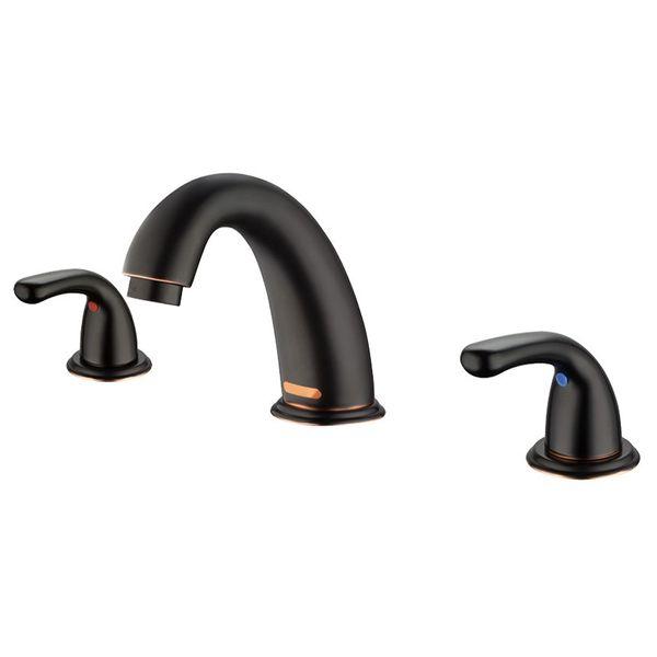 Sanlingo Design 3 Hole Bathroom Washbasin Wash Bowl Water Tap Black Browned – Bild 1