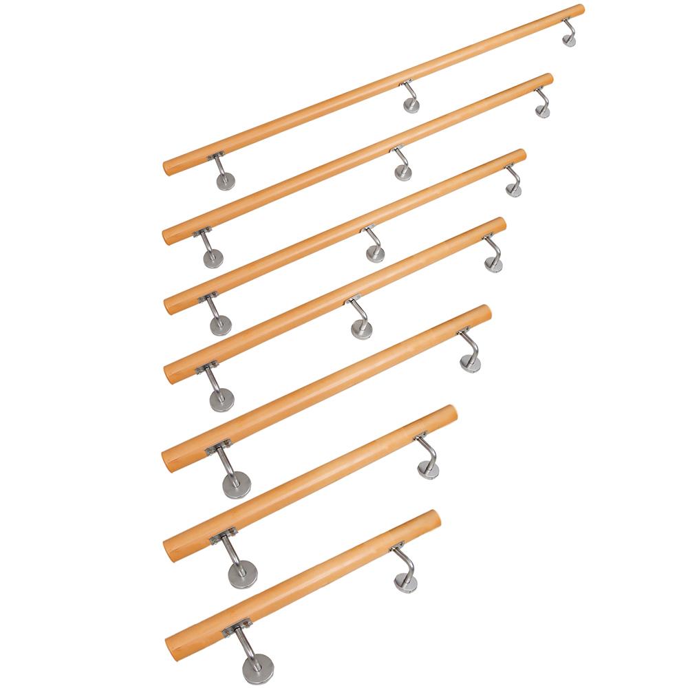 40 cm L/änge mit 2 Haltern und Endst/ück Halbrunde Edelstahlkappe Buche Handlauf Treppen Gel/änder Handl/äufer 30-500 cm aus einem St/ück mit Halter St/ützen Tr/äger und bearbeiteten Enden