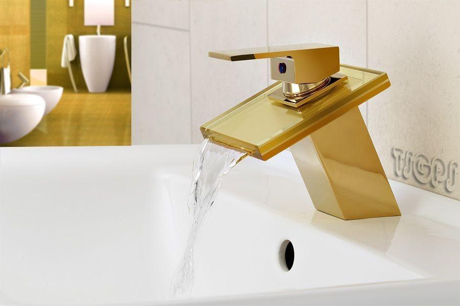 wasserfall schwall glas armatur in goldoptik sanlingo bad armaturen waschtisch gold. Black Bedroom Furniture Sets. Home Design Ideas