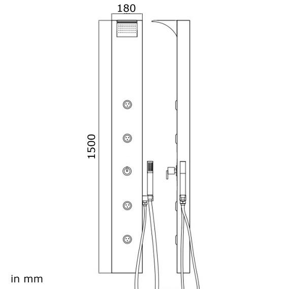 Aluminum Shower Column Panel Rain Shower Waterfall Massage Black Sanlingo – Bild 3