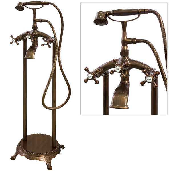 Retro Stand Armatur Freistehend für Badewanne Wanne Rot Bronze Sanlingo – Bild 1