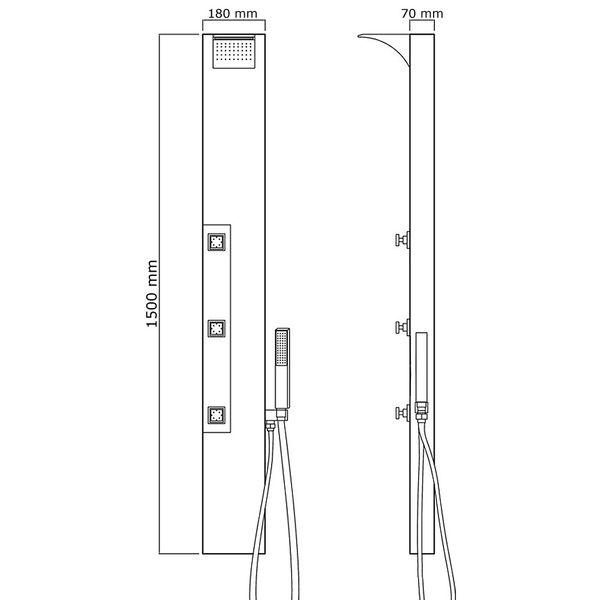 Stainless Steel Shower Column Panel Rain Shower Waterfall Massage Thermostat Sanlingo – Bild 3