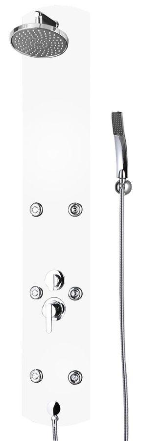 Aluminium Duschpaneel Wandanschluss Regendusche Massage Handbrause Weiß Sanlingo – Bild 1