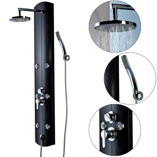 Aluminium Shower Panel Shower Column Massage Rain Shower Black Sanlingo – Bild 2