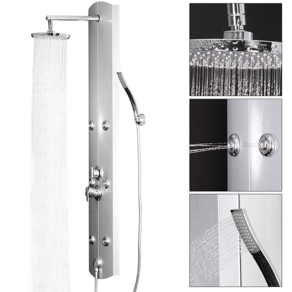 Aluminium Shower Panel Shower Column Massage Rain Shower Silver Sanlingo – Bild 2