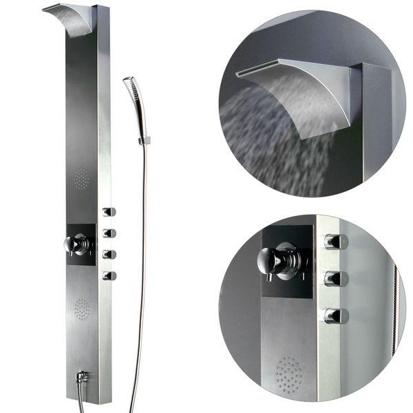 Edelstahl Duschpaneel Duschsäule Wasserfall Regendusche Massage Sanlingo – Bild 2