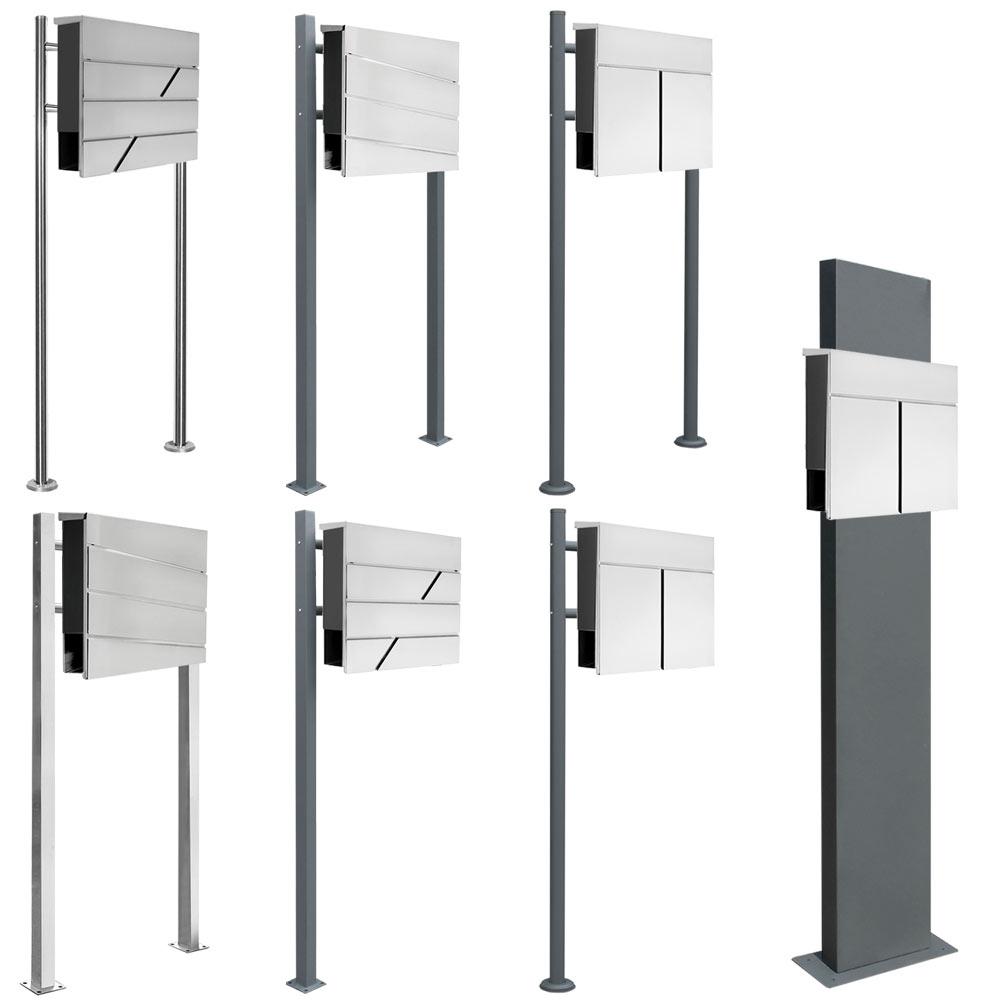 edelstahl briefkasten standbriefkasten zweifarbig zeitungsrolle v2aox auswahl ebay. Black Bedroom Furniture Sets. Home Design Ideas