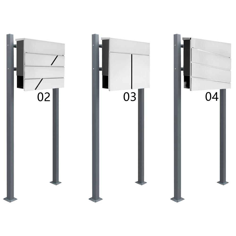 edelstahl briefkasten set standbriefkasten st nder zeitungsrolle freistehend zweifarbig. Black Bedroom Furniture Sets. Home Design Ideas