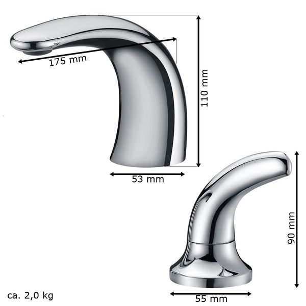 Modern Design 3 Hole Bathtub Water Tap Bath Chrome Sanlingo – Bild 3